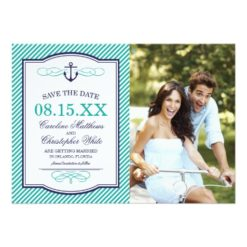Navy And Teal Nautical Anchor Photo Save The Date Invitation Card