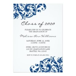 Navy Blue And Black Swirl Graduation Announcement Invitation Card
