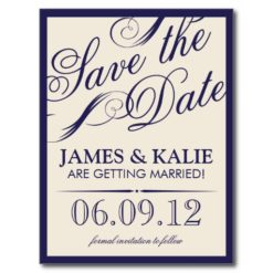 Navy Blue And Ivory Vintage Script Save The Date Postcard