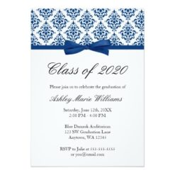 Navy Blue Damask Bow Graduation Announcement Invitation Card