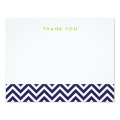 Navy Blue Simple Chevron Thank You Note Cards Invitation Card