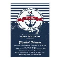 Navy & Red Rustic Nautical Baby Shower Invitation Card