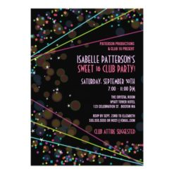 Neon Lights Sweet 16 Club Party Invitation Card
