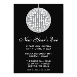 New Years Eve Party Silver Disco Ball Invitation Card