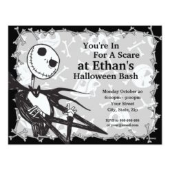 Nightmare Before Christmas Halloween Party Paper Invitation Card