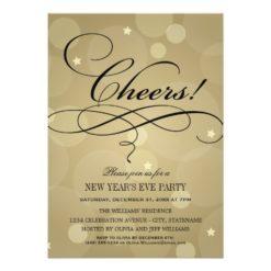 Nye Party Invitations | Champagne Cheers Theme Invitation Card