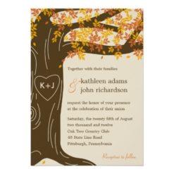 Oak Tree Fall Wedding Invitation Card