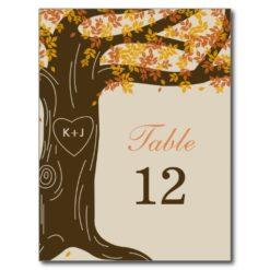 Oak Tree Fall Wedding Table Number Card Postcard