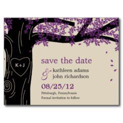 Oak Tree Purple Wedding Save The Date Postcard Postcard