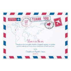 Ohio Air Mail Wedding Thank You Invitation Card