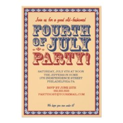 Old Fashioned Fourth Of July Celebration Party Invitation Card