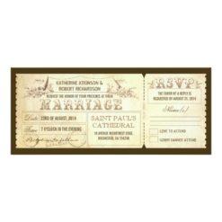 Old Vintage Wedding Invitations - Tickets & Rsvp Invitation Card