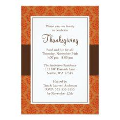 Orange And Brown Damask Thanksgiving Invitation Card