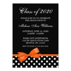 Orange Bow Polka Dots Graduation Announcement Invitation Card