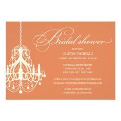 Orange & Cream Chandelier | Bridal Shower Invitation Card