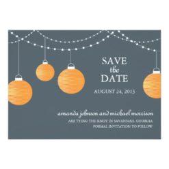 Orange Paper Lantern Wedding Save The Date Invitation Card