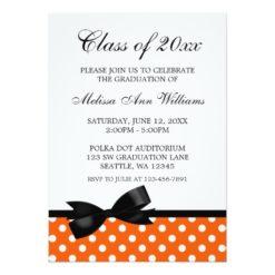 Orange Polka Dot Black Bow Graduation Announcement Invitation Card