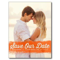 Orange Watercolor Splash | Save The Date Postcard