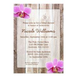 Orchid Rustic Barn Wood Bridal Shower Invitation Card