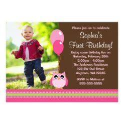 Owl Balloons Brown Pink Photo Birthday Invitation Card