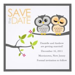 Owl Couple Wedding Save The Date Square Paper Invitation Card
