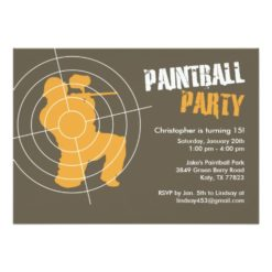Paintball Party Invitation Card