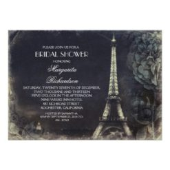 Paris Eiffel Tower Vintage Bridal Shower Invitation Card