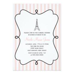 Paris Pink Eiffel Tower Bridal Shower Invitation Card