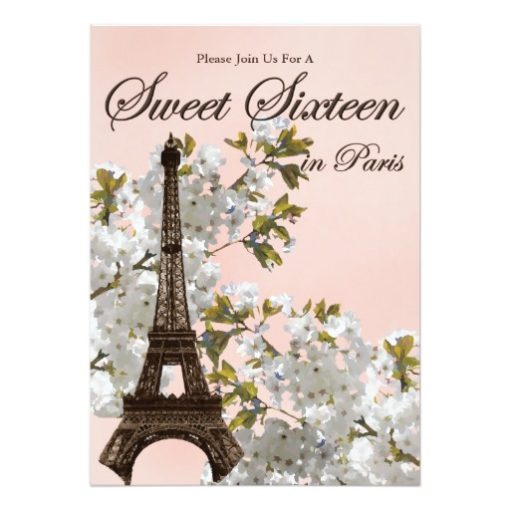 Paris Sweet Sixteen Invitation Card