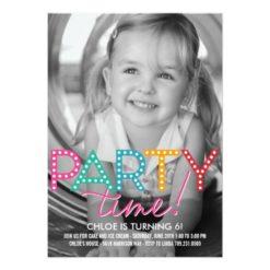 Party Time Photo Birthday Invitation Card