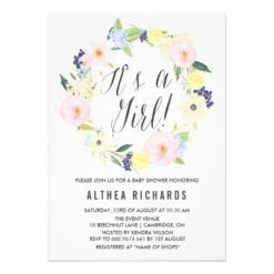 Pastel Floral Wreath Baby Shower Invitation Card