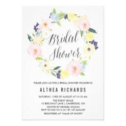 Pastel Floral Wreath Bridal Shower Invitation Card