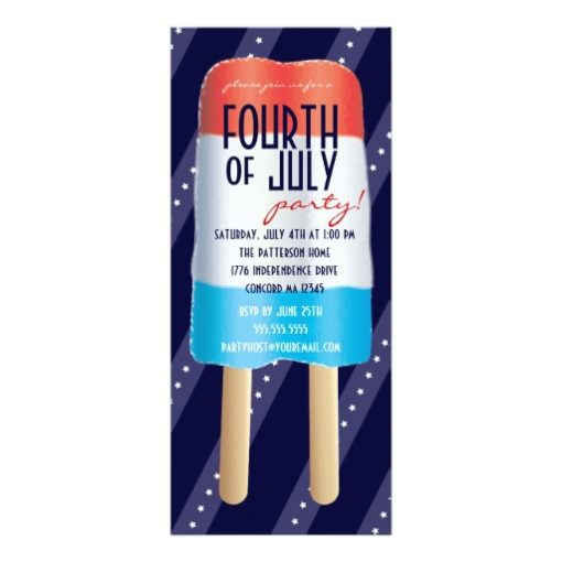 Patriotic Bombpop Red White Blue 4Th Of July Party Invitation Card
