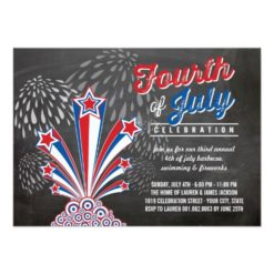 Patriotic Fireworks 4Th Of July Bbq Party Invitation Card