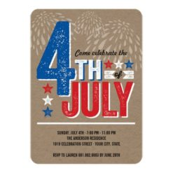 Patriotic Fireworks Fourth Of July Party Invitation Card