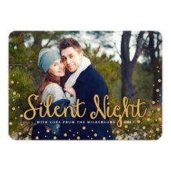 Silent Night Merry Christmas Gold Tone Photo Card Invitation Card