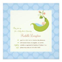 Pea In A Pod Boy Baby Shower Invitation Square Invitation Card