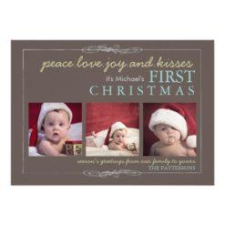 Peace Love Joy Baby'S First Christmas Photo Card Invitation Card
