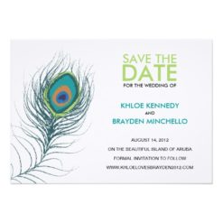 Peacock Feather Save The Date Invitation Card