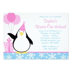 Penguin Blue Snowflakes Winter Onederland Birthday Invitation Card