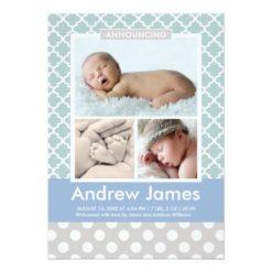 Photo Birth Announcement | Modern Pattern Baby Boy Invitation Card