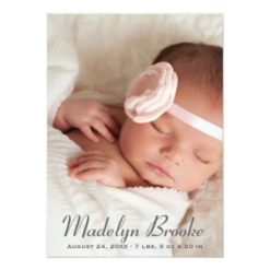 Photo Birth Announcement   Script + Polka Dots Invitation Card