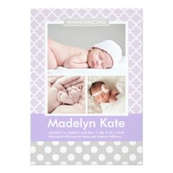 Photo Birth Announcements   Chic Pattern Baby Girl Invitation Card