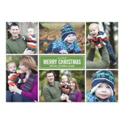 Photo Collage Christmas Greeting Card | Green Invitation Card