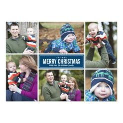 Photo Collage Christmas Greeting Card | Navy Blue Invitation Card