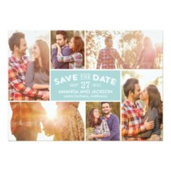 Photo Showcase Save The Date - Blue Invitation Card