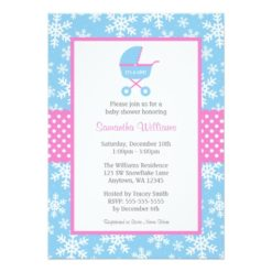 Pink And Blue Carriage Snowflakes Baby Shower Invitation Card