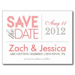 Pink And Gray Modern Typography Save The Date Postcard