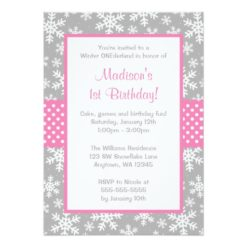 Pink And Gray Snowflakes Winter Onederland Invitation Card