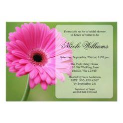 Pink And Green Gerbera Daisy Bridal Shower Invitation Card